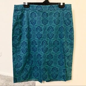 Blue and turquoise paisley pencil skirt